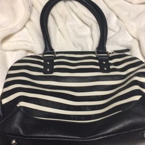Merona black and white striped bag